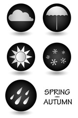 black and white icons weather forecast in spring and autumn