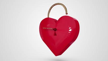 Key opening a heart lock