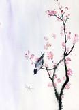 Naklejka bird on a branch of sakura