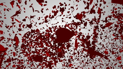 Red hearts falling on white surface with valentines message