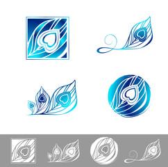 Peacock Feather Logo Design Set