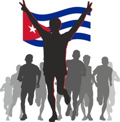 Athlete with the Cuba flag at the finish