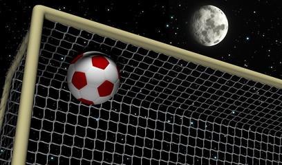 Soccer Foot Ball towards the goal net - Night scene