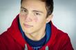 Portrait of teenage boy with acne