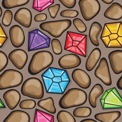 Vector seamless pattern of diamonds and  rock stones