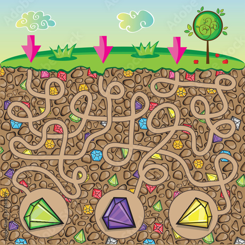 Maze for children - nature, stones and gems