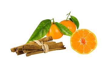 Mandarin and cinnamon sticks. Isolated