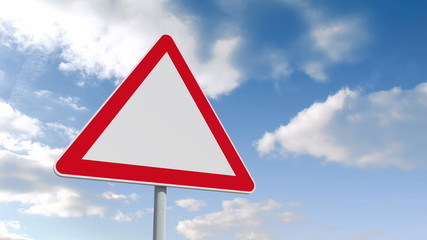 Red and white road sign over cloudy sky