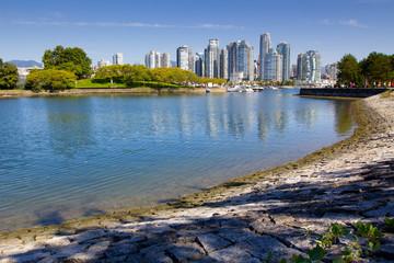 Vancouver skyline, water, urban park