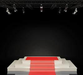 Illuminated empty stage podium