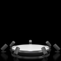 Empty black podium without light
