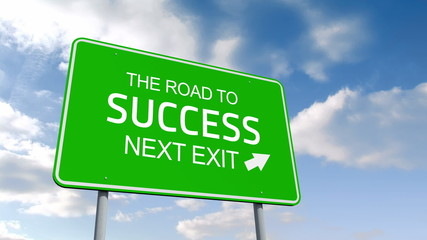 The road to success and next exit road sign over cloudy sky