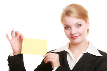 Ad. Businesswoman holding blank copy space card