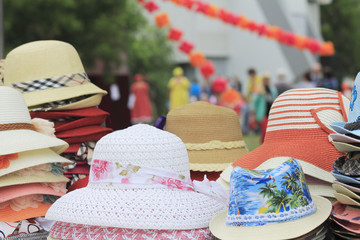 Colorful hats at the fair