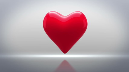 Red heart thumping on grey background