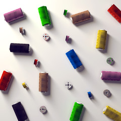 A selection of coloured spools