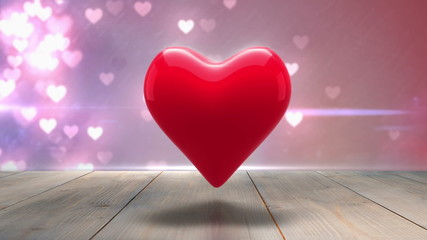 Red heart thumping on glittering background