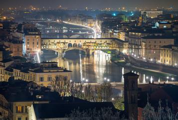 Stunning aerial night view of Ponte Vecchio, Firenze. Old Bridge