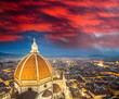 Florence (Italy) - Aerial bird eye view at sunset from Giotto Ca