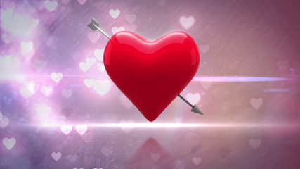 Red heart with an arrow turning on glittering background