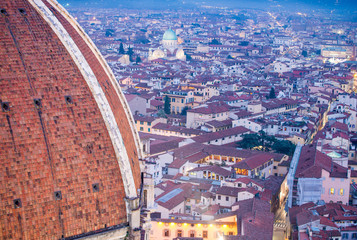 Rooftop view of medieval Duomo Cathedral Dome from Campanite in