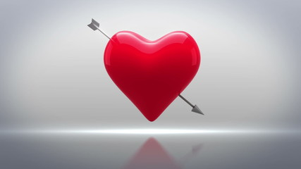 Red heart with an arrow turning on grey background
