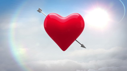 Red heart with an arrow turning over blue sky