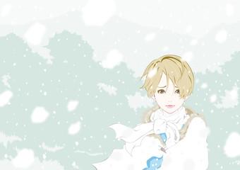 女性 雪 困り顔