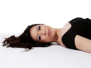 Reclining Portrait Of Beautiful Asian American Woman