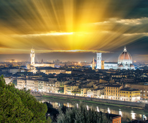 Florence (Firenze) night skyline with Palazzo Vecchio and Duomo