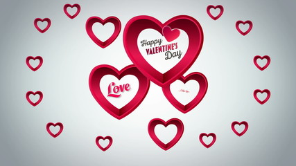 Valentines Day vector with hearts on grey background