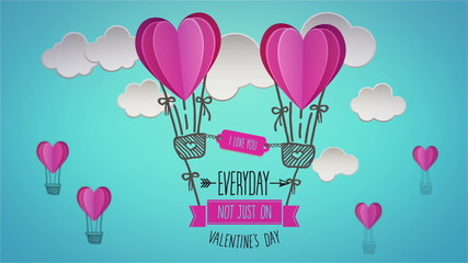 Happy valentines day vector with heart hot air balloons