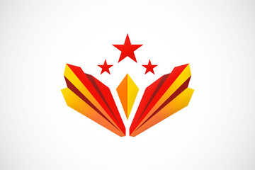 wing shape star abstract logo vector