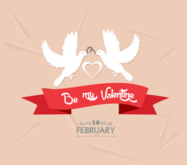 be my valentine with couple bird