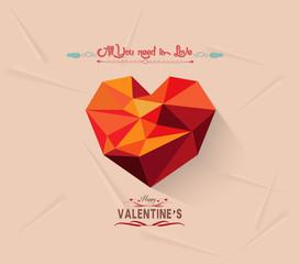 happy valentine with geometrical heart