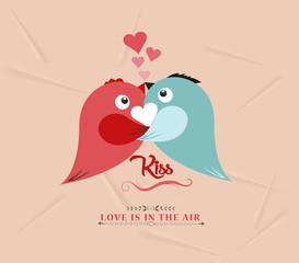 valentine bird couple kissed lovely