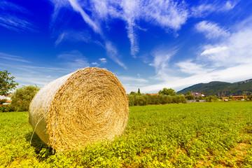 Bale hay with beautiful sky
