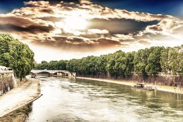 The Tiber river in Rome
