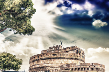 Castel St. Angelo with beautiful sky, Rome