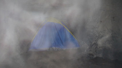 tent under ground in a cave