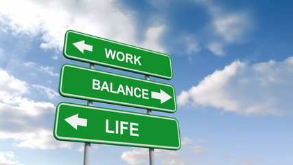 Work life balance signs against blue sky