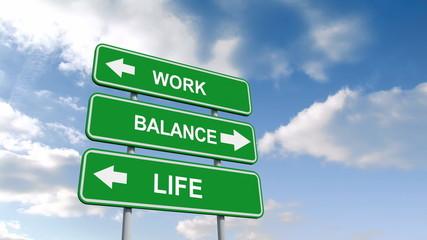 Work life balance signs against blue sky