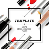 Makeup template with collection cosmetics and accessories