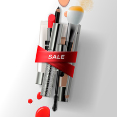 Various makeup brushes and cosmetics