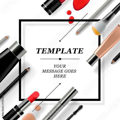 Makeup template with collection cosmetics and accessories - 75155837
