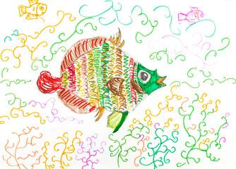 multi-color fish fish between algae