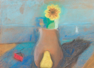 still life with jug and flower on table