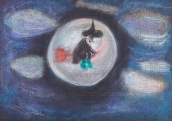 witch flying on broom in dark sky