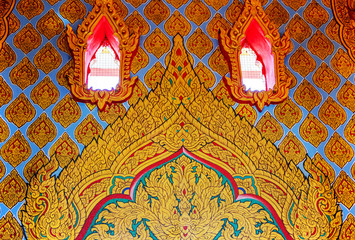 traditional Thai style art painting on wall  in temple