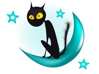 Кот. Черный кот. Луна. Месяц. Звезды. Кошка. Ночное небо.